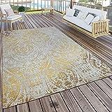 Paco Home In- & Outdoor Teppich Modern Shabby Chic Stil Terrassen Teppich Wetterfest Gelb,...
