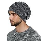 DonDon Herren Winter long Beanie sehr warme und weiche Mütze mit Teddyfleece grau weiß