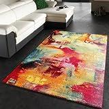 Paco Home Teppich Modern Design Teppich Leinwand Optik Multicolour Grün Blau Rot Gelb,...