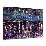 Bilderdepot24 Leinwandbild - Vincent Van Gogh - Sternennacht über der Rhône - 80x60cm einteilig -...