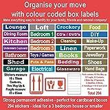 294Aufkleber, um helfen, Organisieren beweglichen Zuhause (für ein Haus 3Schlafzimmer oder...