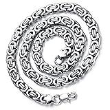 Flongo Herrenkette, 9mm Breit Edelstahl Halskette Königskette Kette Silber 57cm Herrschsüchtig Rau...