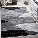 Paco Home Designer Teppich Modern Geschwungene Wellen Linien Muster Kurzflor Meliert Grau,...