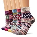 Wollesocken Damen Socken, Moliker Winter Socken 5 Paar atmungsaktiv warm weich bunte Farbe Premium...