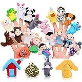 Pllieay 24 Stücke Fingerpuppe Set Spiel Lernen Weiche Pädagogische Handpuppe mit 15 Tieren, 6...