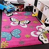 Paco Home Kinder Teppich Schmetterling Design Grün Grau Schwarz Creme Pink, Grösse:160x230 cm