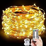 MORECOO Lichterkette Außen, 10M 100 LEDs Lichterkette Batterienbetrieben für Party, Karneval,...