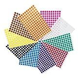 1cm Runde Punktaufkleber Farbkodierung Etiketten Markierungspunkte - 10 verschiedene Farben, 3000...