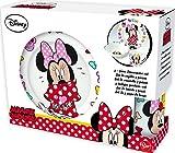 Disney Minnie Mädchen Frühstücksset, 3 teilig, Porzellan - Tasse, Teller, Müslischale -...