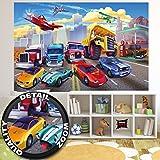 Fototapete für Kinderzimmer Autorennen Wandbild Dekoration Flugzeug Cars Abenteuer Feuerwehr...