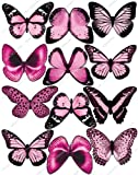 Cakeshop 12 x Vorgeschnittene Hellrosa Essbare Schmetterlingskuchen Topper (Tortenaufleger,...