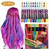 Haarkreide, Metallische Glitter Temporäre Haarkreide, CIDBEST® 12 Farben Tragbare Hair Chalk Set,...