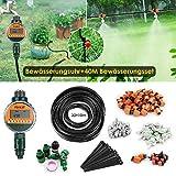 FIXKIT Garten Bewässerung Kit, 120PCS 40M Bewässerungssystem + LED Display Wasser Timer, geeignet...