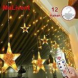 12 Sterne LED Lichtervorhang Lichterkette im Innen/Außen, MaLivent Niederspannung Sternenvorhang...