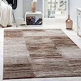 Designer Teppich Modern Wohnzimmer Teppiche Kurzflor Karo Meliert Braun Beige, Grösse:160x220 cm