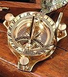 Antike Sonnenuhr mit Kompass Nostalgie Messing Uhr in Holzbox aus Holz Geschenkbox