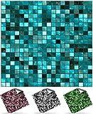 24 stück Fliesenaufkleber für Küche und Bad (Tile Style Decals 24xTP3-6'-Turquoise) | Mosaik...