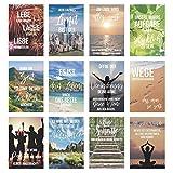 Set 12 Postkarten mit Sprüchen - Karten mit Spruch - Geschenkidee - Dekoidee - Liebe, Freundschaft,...