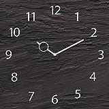 Eurographics Wanduhr aus Glas, Black Slate, Schieferoptik schwarz, 30x30 cm