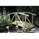 Teichbrücke gebogen aus Holz mit Geländer von Gartenpirat®