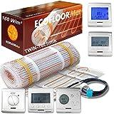 ECOFLOOR Fußbodenheizung elektrisch 160 Watt/m² Größe wählbar 1- 12m² Fußboden-Heizmatte Twin...