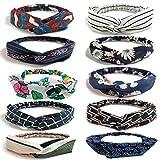 LZYMSZ 10PCS Damen Headbands Blumenmuster Headwrap Twist Knoten Haar Band Yoga Head Packungen Sport...