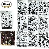 Zeichenschablonen,Dancepandas 10 Stück Kunststoff Zeichnung Skala Vorlage Sets für Kinder lernen...
