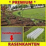Rasenkanten schmal 14 cm hoch, 100 cm lang, mit einzigartiger Versteifungskante