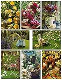50 Grußkarten Klappkarten mit 50 Umschlägen Blumen & Garten - 8 Motive - Markenware -...