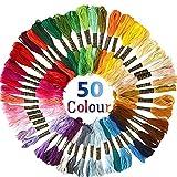 Stickgarn Embroidery Threads Nähgarne Stickerei Basteln Crafts Floss Set 50 Docken Sticktwist 8m...