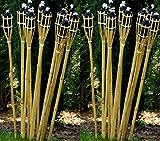 24 Stück Gartenfackel Bambusfackel 90 cm Naturfarbe aus Bambus inkl. Docht + Tank für draussen/...