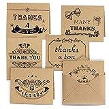 Kuuqa Dankes Karte Danksagungskarten 6 Ausführungen 36 Stück mit 36 Umschläge und Kleber...