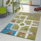 Kinderzimmer Teppich Mit Design City Hafen Stadt Straßen Spielteppich In Grün, Größe:230x320 cm