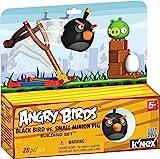 Angry Birds schwarzer Vogel mit Schleuder und Schwein, Ei, Bausteine, der Karton dient als...