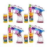 S/O® 4er Pack LED Seifenblasenpistolen incl. 2x50ml Seifenblasen Flüssigkeit Ohne Batterien...