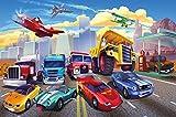 great-art Fototapete Autorennen Comic für Kinderzimmer - 336 x 238 cm 8-teiliges Wandbild...