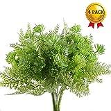 Nahuaa Künstliche Sträucher, 4 Stücke Draußen Künstlicher Farn Kunstpflanze Künstliche Pflanze...