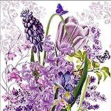 20 Servietten Francine - Lila Frühlingsblumen / Schmetterlinge / Blumen / Frühling 33x33cm