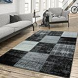T&T Design Teppich Wohnzimmer Modern Kariert Meliert Schwarz Weiß Grau, Größe:160x230 cm