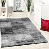 Paco Home Designer Teppich Modern Wohnzimmer Teppiche Kurzflor Karo Meliert Grau Schwarz,...