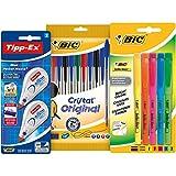 BIC Schreibwaren Set mit 10x BIC Cristal Original Kugelschreiber, 5x BIC Textmarker & 2x Tipp-Ex...