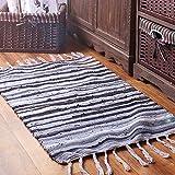 LIVEBOX Handgewebter Teppich Vorleger Mehrfarbig Streifen Natürlich Baumwolle Wendeteppich für...
