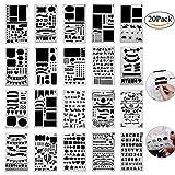 Zeichenschablonen Bullet Journal Schablone Set, 20 Stück Kunststoff Zeichnung Zeichen Skala Vorlage...