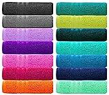 Lashuma Handtuch Set - Frotteeserie London - in 14 Farben und 6 Größen, Farbe: Aubergine Lila, 2er...