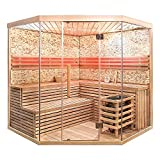 Home Deluxe - Traditionelle Sauna - Skyline XL BIG Kunststeinwand - Holz: Hemlocktanne - Maße: 200...