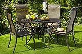 Hartman Esstischgruppe Palermo, Tischgruppe mit 4 Stapel-Stühlen in Bronze, Gartengarnitur aus...