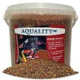 AQUALITY PREMIUM KOI PELLETS 3 mm   5.000 ml (Hervorragendes Fischfutter für alle Fische im...