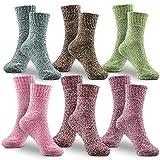 WOSTOO Damen Winter Warme Socken, Premium Qualität 6 Pack Dicke Baumwolle Stricksocke Damen Bunte...