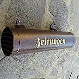Zeitungsrolle aus Metall Farbe: Kupfer / Bronce / Braun mit Verschlussgitter Einwurf: Seite...