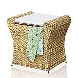 Badhocker Wäschehocker Wäschebox Badhocker Sitz Wäschetruhe Wasserhyazinthe Natur Korb Case
